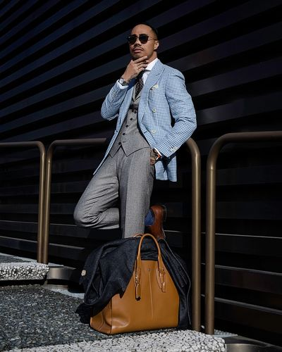 Man Bag Standing Style Sunglasses One Person Portrait Standing Architecture Clothing The Modern Professional Fashion Young Adult Pattern The Modern Professional The Modern Professional