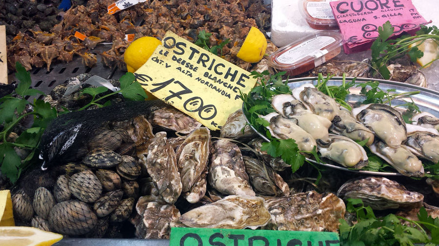 Traditional fish market stall full of fresh oysters and seafood and italian tag Close-up Food Food And Drink For Sale Freshness Healthy Eating Market Market Stall No People Oysters Lover Oysters On The Half Shell Oysters Rockefeller! !!! Price Tag Retail  Text Variation