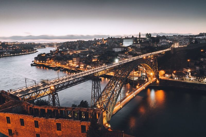 EyeEm Selects Architecture Bridge - Man Made Structure Built_Structure Connection River Building Exterior Suspension Bridge City Water Illuminated Chain Bridge Transportation High Angle View Travel Destinations Sky No People Outdoors Cityscape Night Nature Porto Porto Portugal 🇵🇹 Portugal First Eyeem Photo Fresh On Market 2017