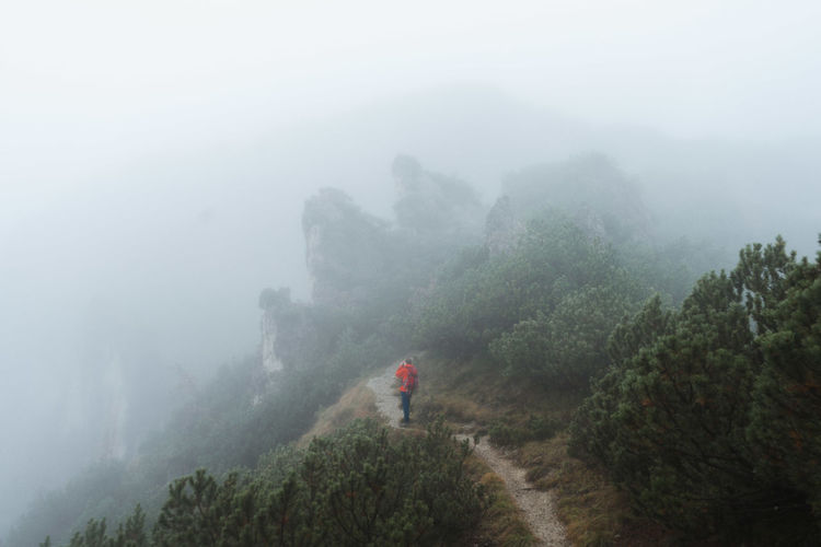 Rear view of man on mountain against sky during foggy weather