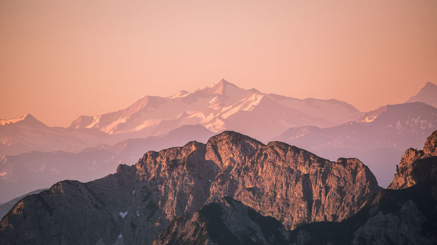 Mountains against sky during sunset