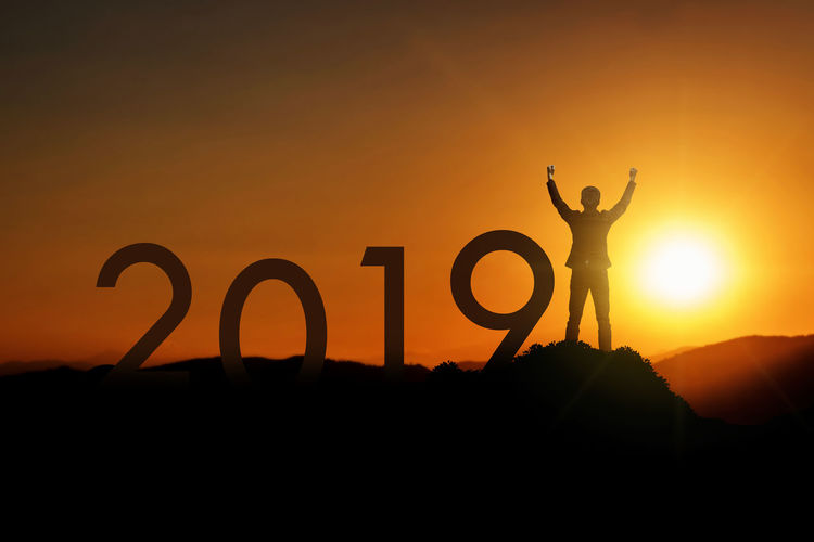 2019 Happy New Years victory moment 2016 Goals Happy People New Year Aim Arms Raised Beauty In Nature Communication Copy Space Human Arm Leisure Activity Lifestyles Men Nature One Person Orange Color Real People Scenics - Nature Silhouette Sky Standing Sun Sunset Text Victory