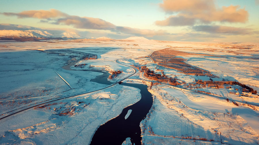 Drone  Iceland Landscape_Collection Beauty In Nature Cloud - Sky Cold Temperature Day Dji Enjoying Life High Angle View Idyllic Lake Landscape Landscape_photography Landscapes Mavic Mountain Nature No People Sky Snow Sunset Winter Winterwonderland