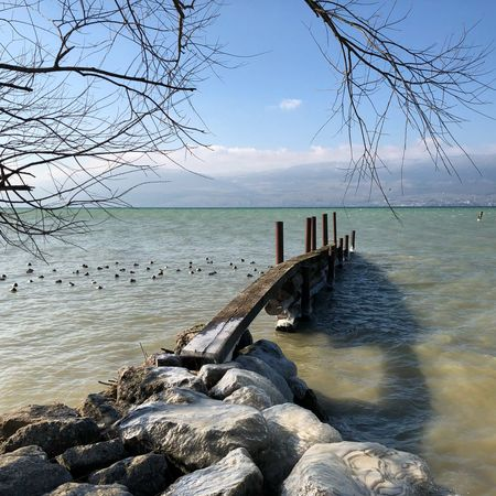 Panorama Ponton Vue Lac Water Sea Sky Beauty In Nature Nature Rock - Object Scenics