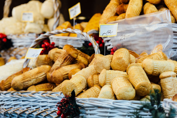 Close-up of breads for sale in wicker basket