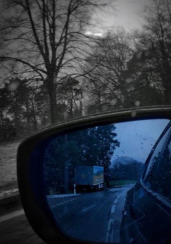Blick Zurück Tree Bare Tree Winter Side-view Mirror Nature Road Car Outdoors Cold Temperature