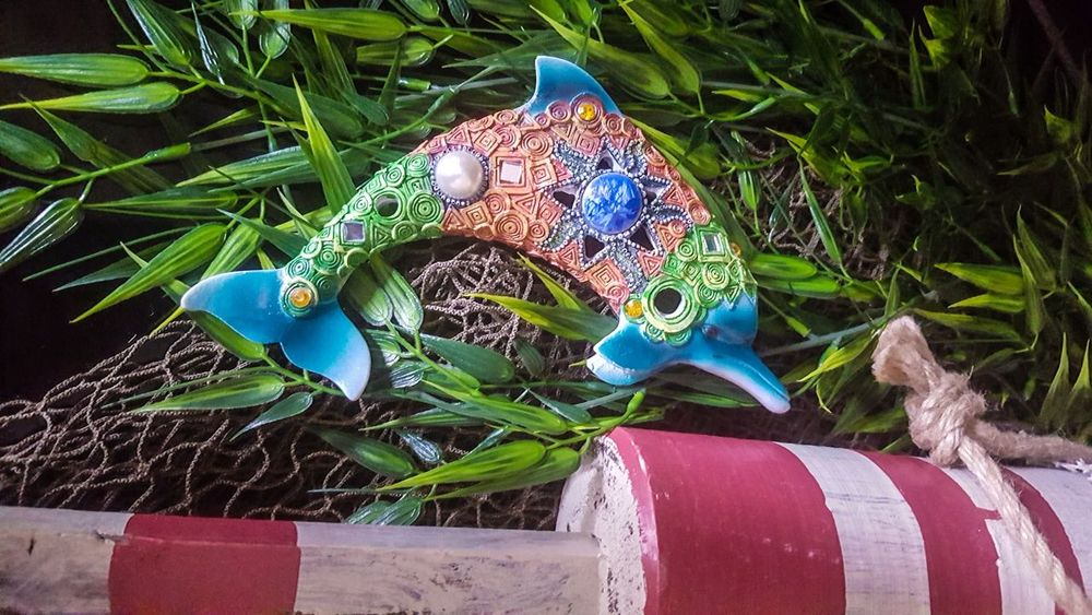Coastal Life Dolphine Mammel Buoy Fishing Net Seaweed At The Beach Decoration Sea Life Maine New England  Blue Close-up ArtWork Sculpture Handmade Sculpted Art Art And Craft Craft
