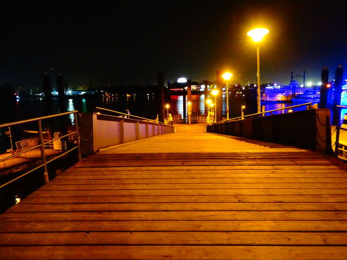 Illuminated Night Street Light The Way Forward Steps Railing City Sky Outdoors Tranquility Tranquil Scene Boardwalk Scenics Multi Colored No People Vacations City Life Hamburg Harbour