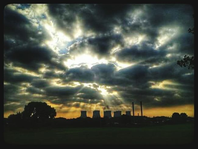 Dramatic Sky Clouds And Sky Silhouette Power Stations Outdoors