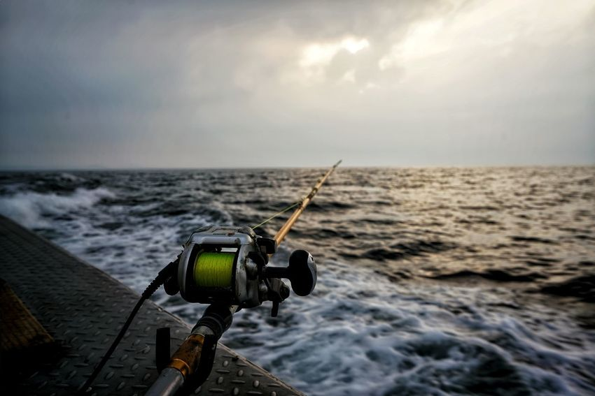 Korea Photos Jejudo Jeju JEJU ISLAND  Fishing Fishing Time Fishing Boat Sea Reel Water Technology Been There. Done That. No People Beach Sky Photography Themes Wave Day Nature Outdoors Horizon Over Water Streamzoofamily