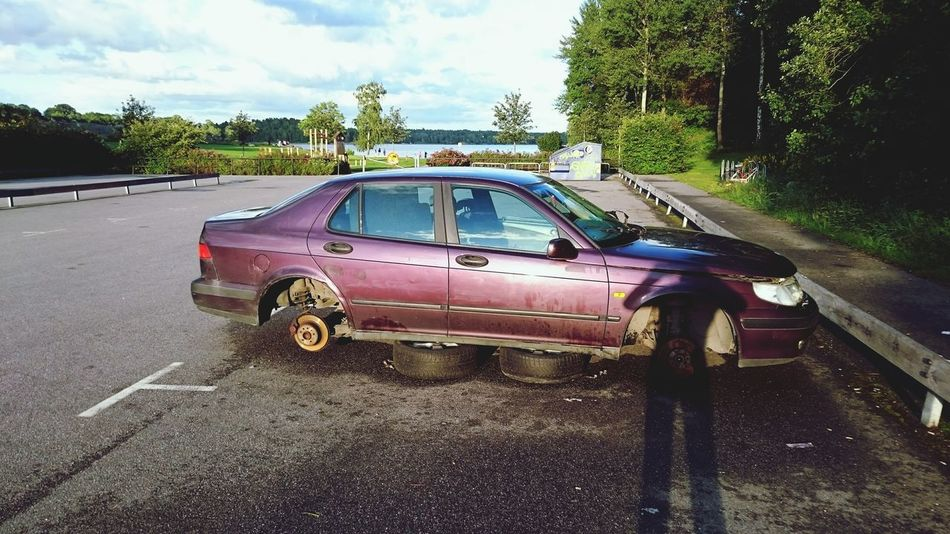 Junk Cars Purple Metallic Saab Saab95 Car