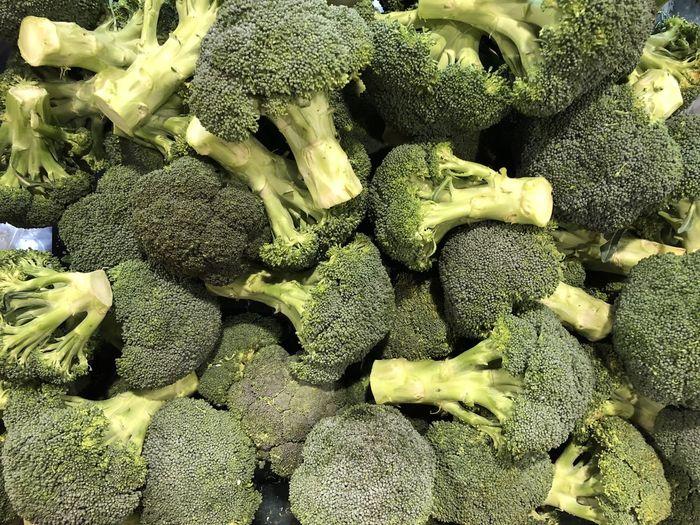 Full Frame Shot Of Broccoli For Sale At Market Stall