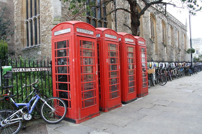 Architecture Bicycle Cambridge City City Life Cultures Day Great Britain No People Old-fashioned Outdoors Pay Phone Red Red Telephone Telephone Booth Telephone Box Travel Destinations Tree Uk