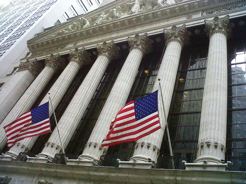 Flag Patriotism Building Exterior Architecture Stars And Stripes USA FLAG America NYC Street NY Stock Exchange