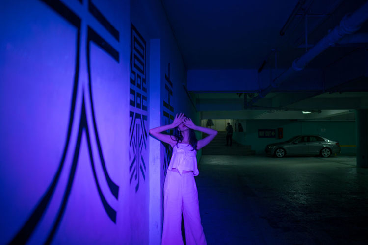 pale man ii Arms Raised Arms Outstretched Haunting  Ghostly Neon Lights Neon Pale Man ASIA Portrait Of A Woman Cinematic Young Women Arts Culture And Entertainment Dancing Dancer Neon Colored
