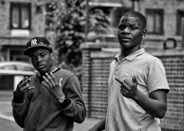 London East London Teenagers  Middle Finger Streetphotography EyeEm Gallery EyeEm Best Shots EyeEm Best Edits Street Photography Streetphoto_bw Gang Portrait Urban Uk Teenager Teen Young Adult Youth Of Today Youth Bike The Street Photographer - 2016 EyeEm Awards Two Is Better Than One