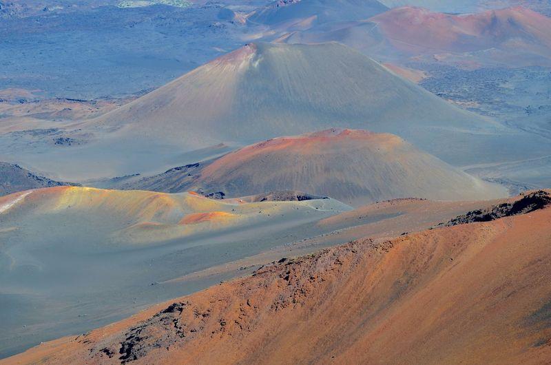 Haleakala Haleakala National Park Arid Climate Beauty In Nature Climate Day Desert Environment Geology High Angle View Idyllic Land Landscape Mountain Nature No People Non-urban Scene Outdoors Physical Geography Remote Scenics - Nature Tranquil Scene Tranquility Volcanic Crater Volcano