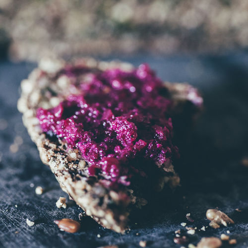 Ketobread with beetroot Keto Pesto Snack Beetroot Bread Close-up Day Food Healthy Ketogenic Lowcarb No People Vegan
