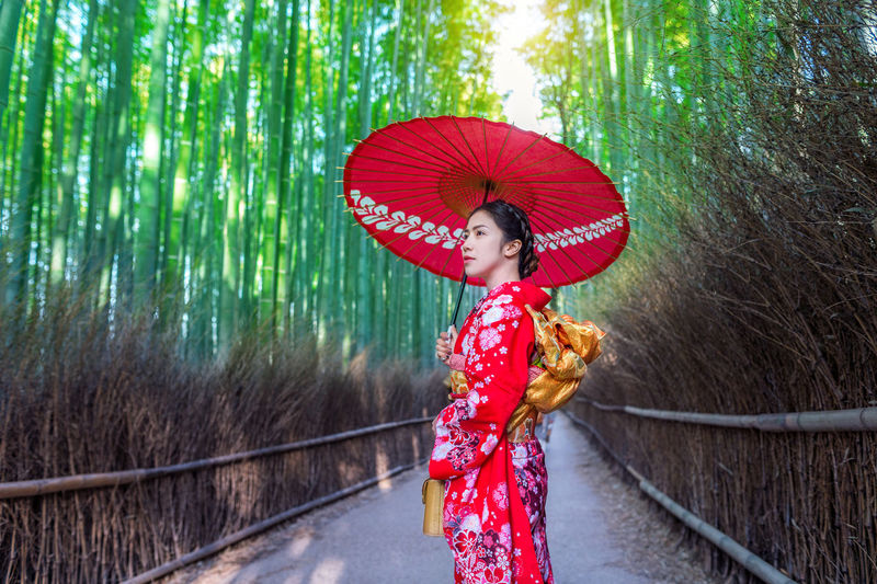 Mid adult woman holding red umbrella on footpath amidst bamboo forest