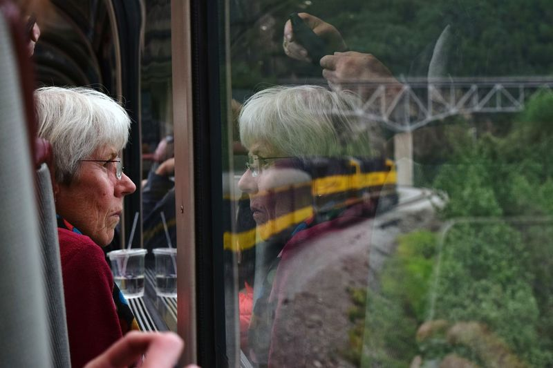 Window Train - Vehicle Adult Mature Adult Looking Through Window Adults Only One Person Outdoors Alaska