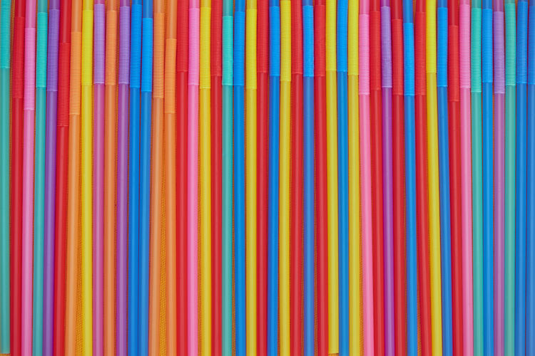 Full frame shot of colorful straws