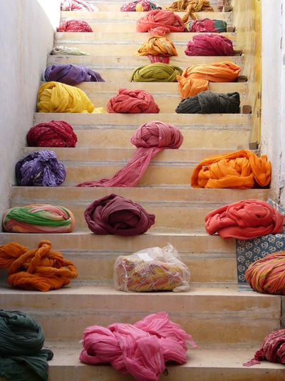 Low Angle View Of Colorful Turbans For Sale