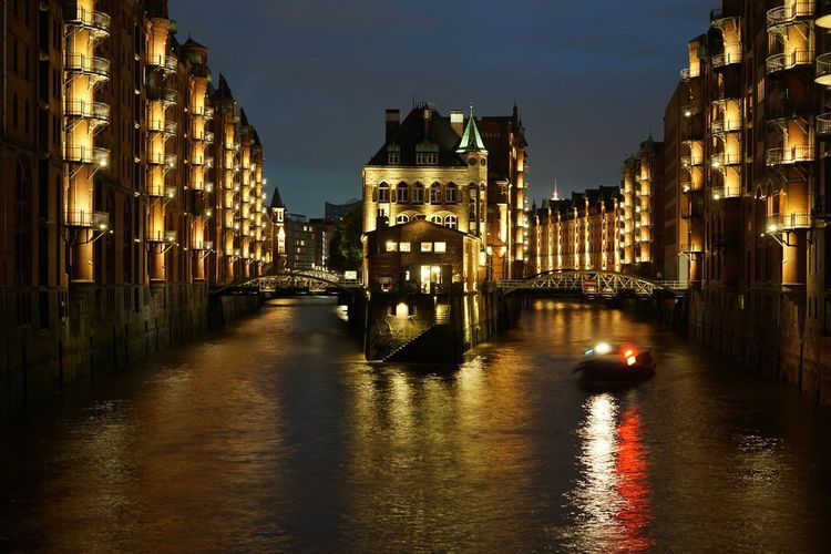 Speicherstadt Speicherstadt Hamburg Warehouse Refraction Travel Destinations Cityscape Architecture Night No People City Sky Water