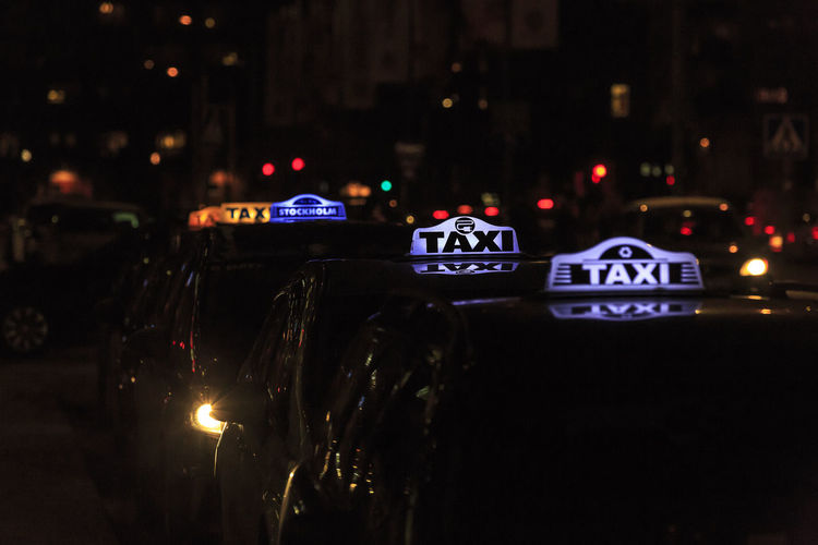 Cars Dark Lights Queue Stockholm Sweden Taxi Traffic Waiting Waiting In Line Night No People