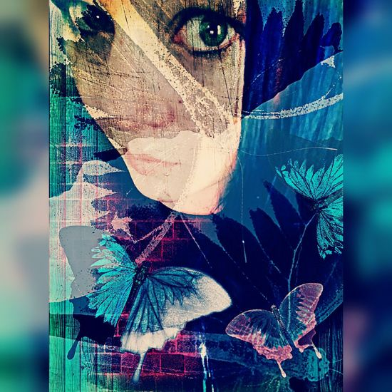 """The Innovator Colors Musically Driven Inspiration Expression Photoeffects Woman Eyes Butterfly H.I.M. Wings Of A Butterfly """"cmon lets show them your love. Rip out the wings of a butterfly. For your soul, my love. Rip out the wings of a butterfly. For your soul."""" (HIM)"""