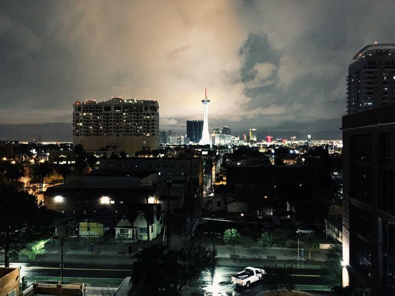 Stormy night in Las Vegas. Rain Las Vegas Vegas  Storm
