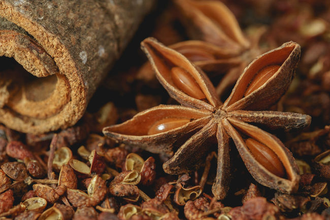 Stair Anise resting on cinnamon and sichuan pepper. Chinese Food Cooking Food And Drink Ingredients Peppercorns Sichuan Sichuan Pepper Anise Chinese Cinnamon Cinnamon Sticks Close-up Food Food And Drink Freshness Ingredient No People Pepper Spice Spices Star Anise