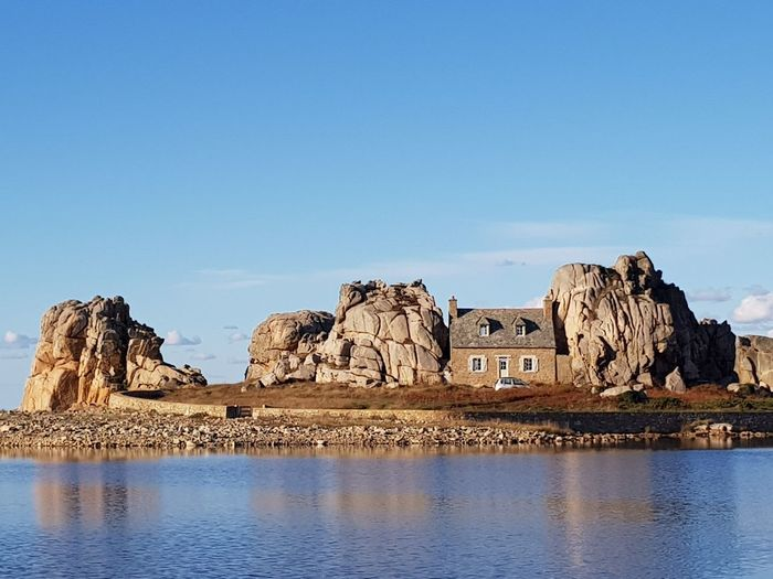 """The house between 2 rocks"" Houseontheshore Seaandsky Landscape Traveldestination Nature Rockformation Geology Beach Scenicnature Coastline Frenchbrittany Pinkgranitecoast Travel Seascape Rocky Coastline Water Reflection History Sky Architecture Calm Coast Shore Tranquil Scene"