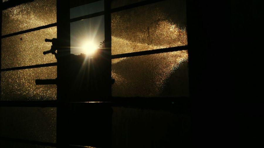 Close-up of sunlight through window