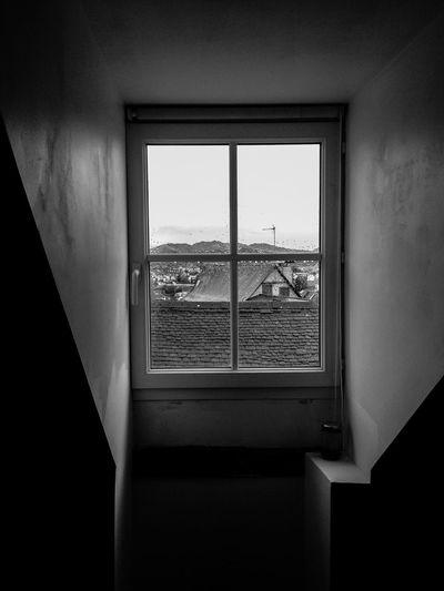 Houses seen through glass window