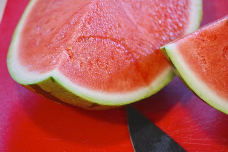 Close-Up Of Watermelon On Table