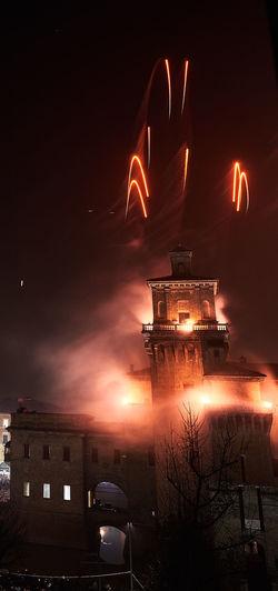Castle Ferrara Firework Fireworks Goodyear Italy Landscape Nightphotography