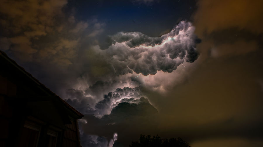 Idyllic shot of dramatic cloudy sky at night