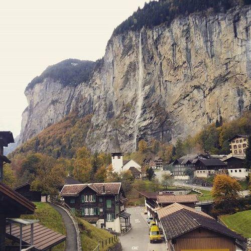 Lauterbrunnen with one of its waterfalls Lauterbrunnen Valley Waterfallvillage Beautifuldestinations Beautifulvillage Naturelovers Naturegeography Switzerland