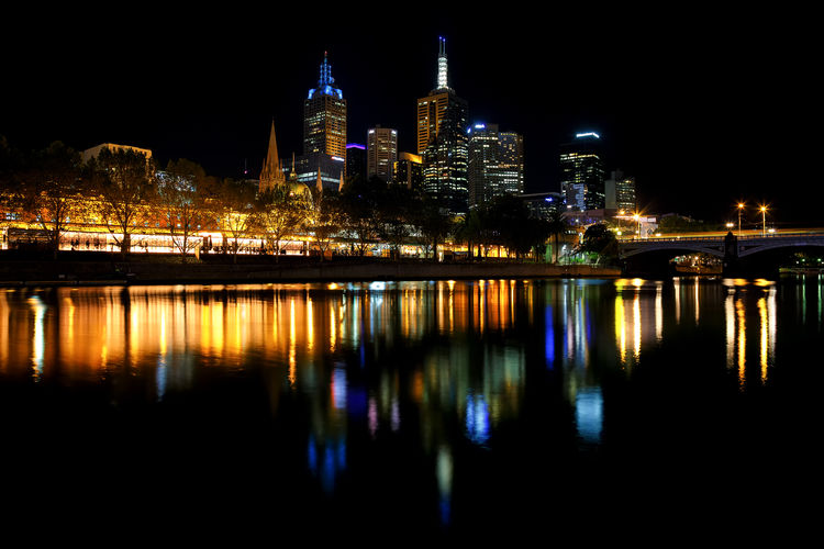 Reflection Of Illuminated Buildings On Yarra River At Night