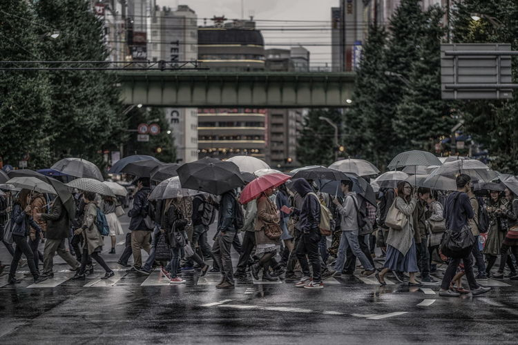 Japan Red Tokyo Architecture Building Exterior Built Structure City Crowd Day Group Of People Large Group Of People Monsoon Nature Outdoors People Protection Rain Rainy Season Real People Security Street Streetphotography Umbrella Wet