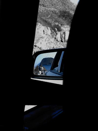 Summer is behind you Mobilephotography Behind You Behind Your Back Mirrior Mirriorshot Mirrior Image Reflection Summer HuaweiP9 Huaweiphotography Mediterranean  Menorca Road Island Sunlight Close-up Architecture Built Structure Side-view Mirror Vehicle Vehicle Mirror Car