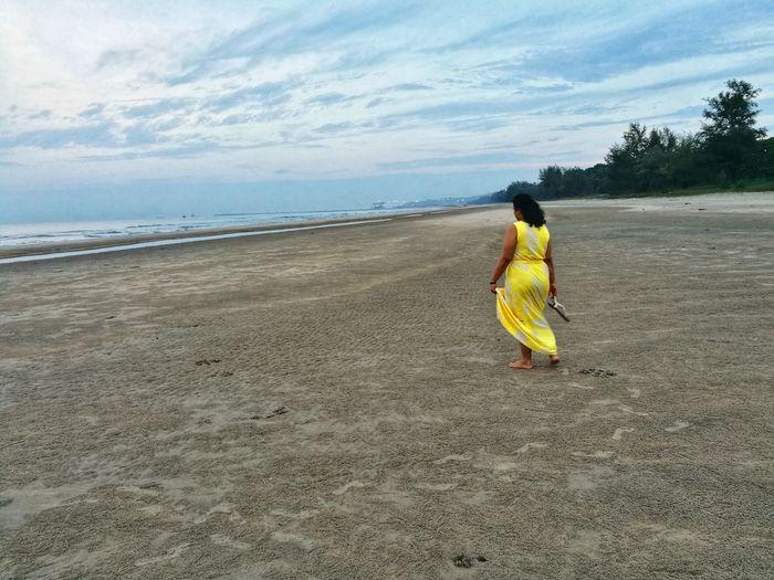 Alone on a beach Woman Malaysia Cheratingbeach Pahang, Malaysia Full Length Beach Sea Sand Women Rear View Sky Horizon Over Water Cloud - Sky