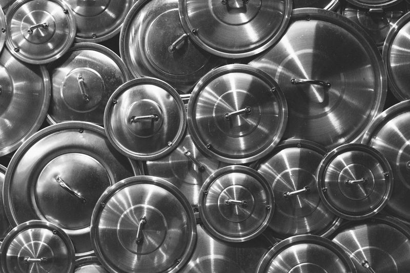Pots and pans Abundance Arrangement Backgrounds Black & White Black And White Blackandwhite Blackandwhite Photography Close-up Decoration Design Kitchen Kitchen Utensils Large Group Of Objects Metal Metallic No People Pans Pots Round Shapes Stack Wall