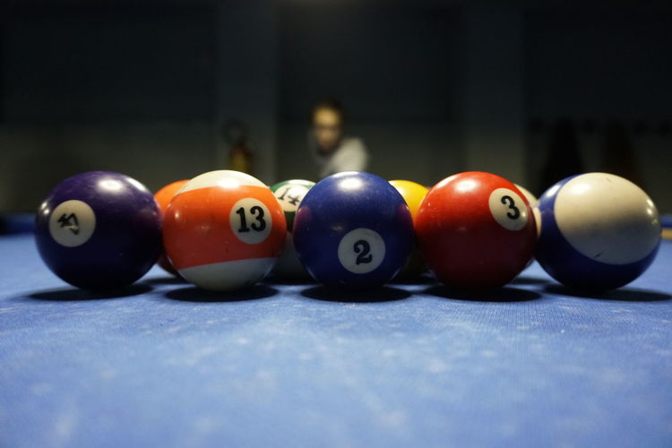 Pool Ball Number Color Focus On Foreground Selective Focus Sphere Close-up Pool Ball Fun