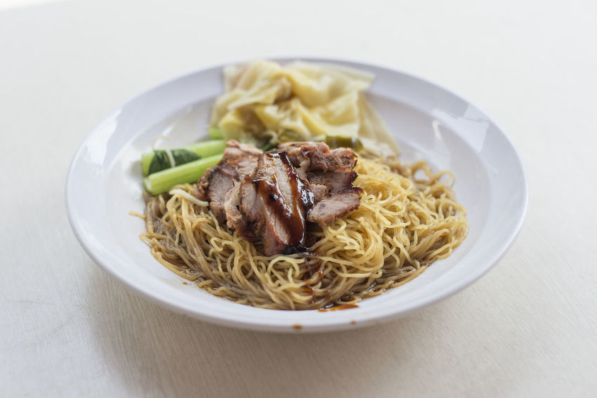 Char Siew Wanton Noodles Close-up Day Food Food And Drink Freshness Indoors  No People Noodles Plate Ready-to-eat Table Wanton Wanton Mee