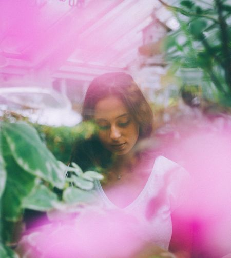 views. One Person Real People Young Adult Young Women Lifestyles Beautiful Woman Leisure Activity Flower Double Exposure Happiness One Young Woman Only Day Outdoors People