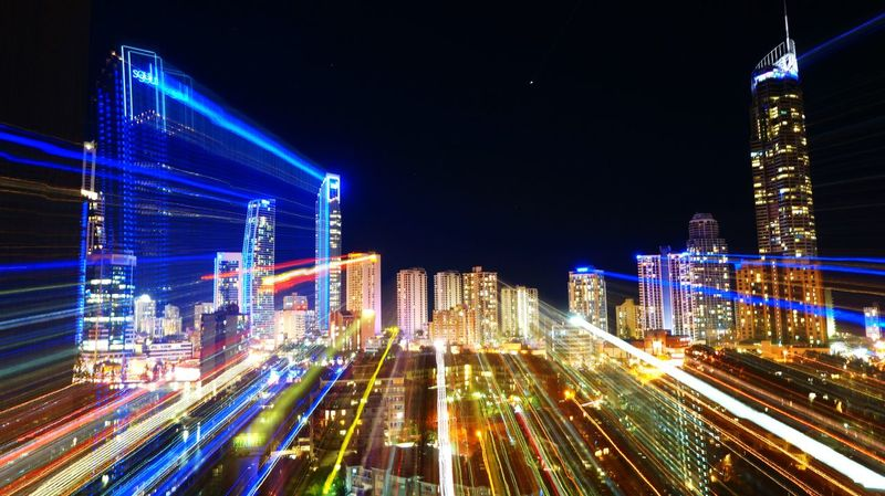 time warp. Nighttime Skyskrapers Time Warp Light Play Surfers Paradise Lights Neon Color Highrises Cities At Night Eyeem Awards 2016 Cities At Night.