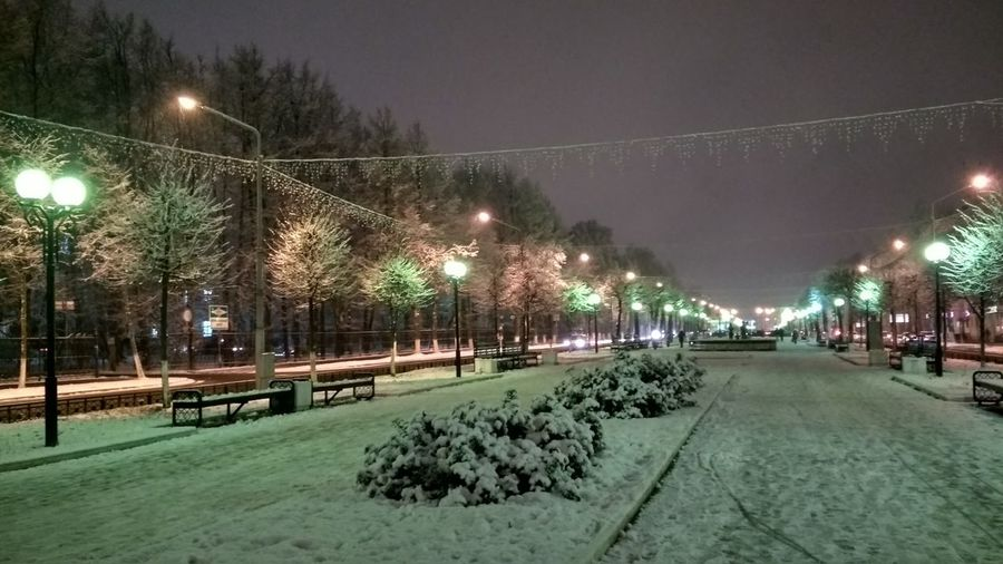 Illuminated road amidst trees against sky at night during winter