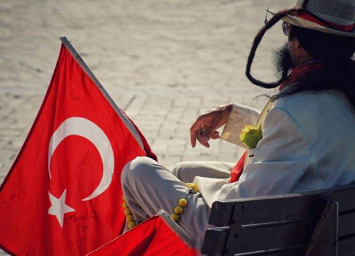 A man with a fake moustache Adult One Person Men Outdoors Lifestyles Day Red Real People Turkish Flag Turkey Flag Fake Fake Moustache