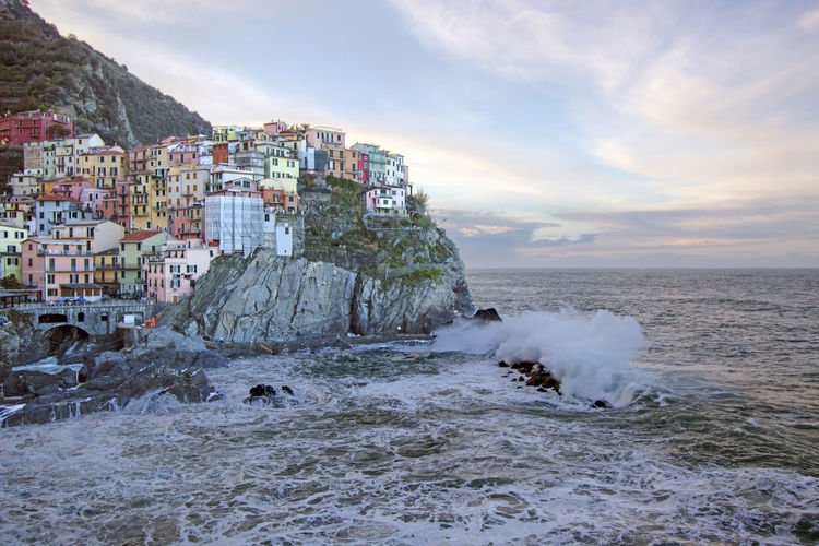 Mountain Manarola Five Lands Cinque Terre Liguria Italy Italia Dawn Long Exposure Landscape Village Town Sea Water Sky Architecture Rock Land Building Exterior Nature Cloud - Sky Built Structure Motion Beauty In Nature Building Beach Horizon Over Water Scenics - Nature Solid Rock - Object No People Outdoors Power In Nature Breaking